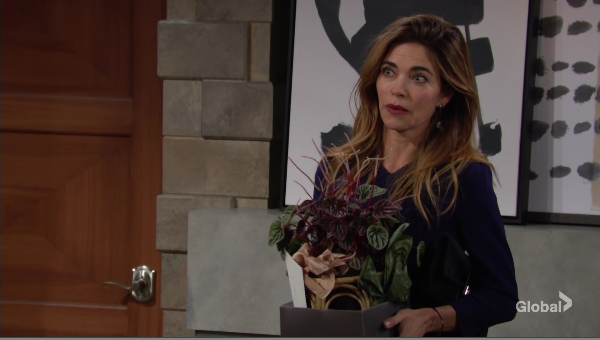 victoria brings lily plant young restless