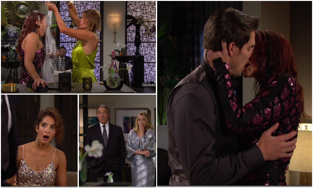sally kiss adam, phyllis ice water on sally young restless